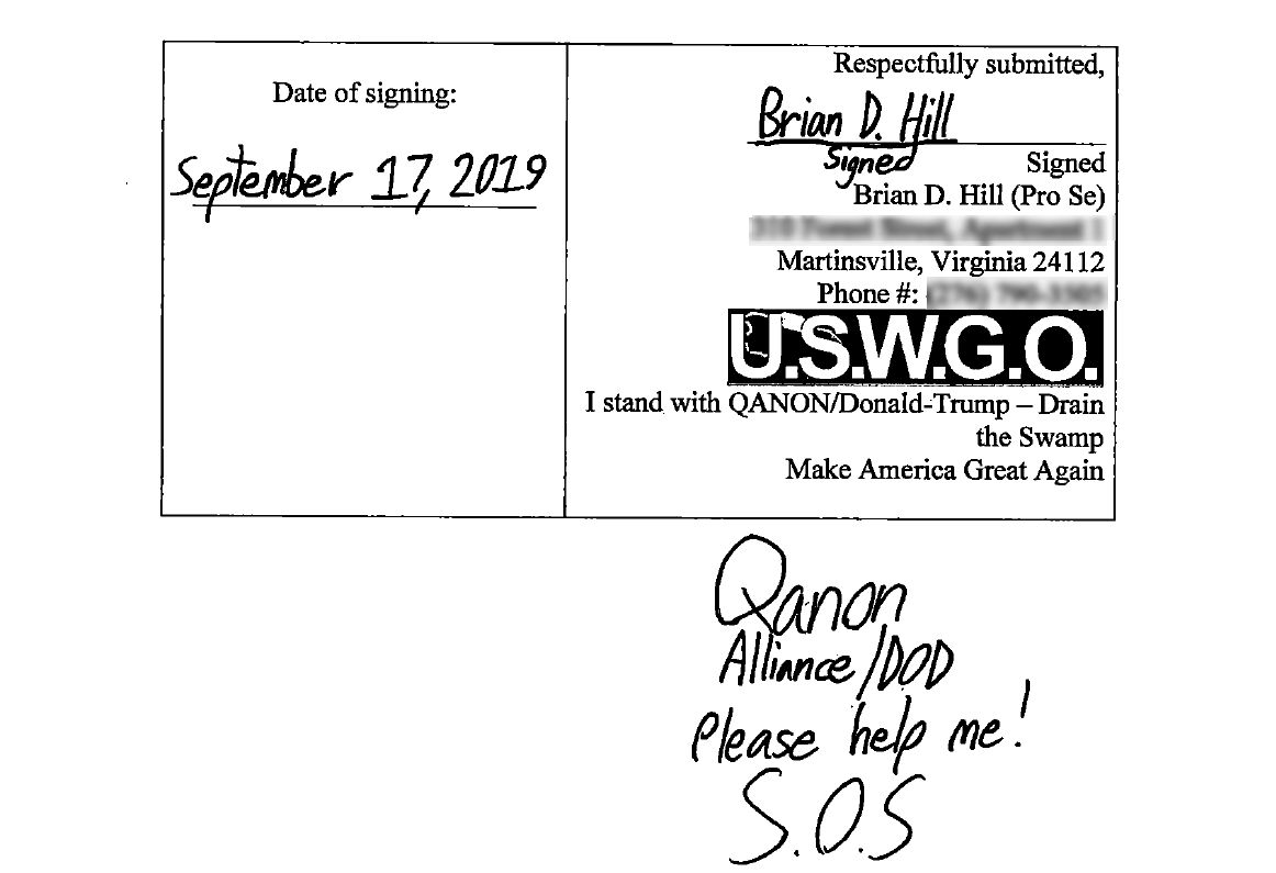 Brian D. Hill of USWGO asks QANON for help again justice for uswgo laurie azgard