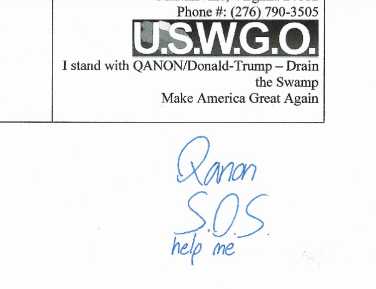 QANON HELP ME S.O.S. federal court united states v. brian david hill uswgo notice of appeal qanon sos ask for help justice