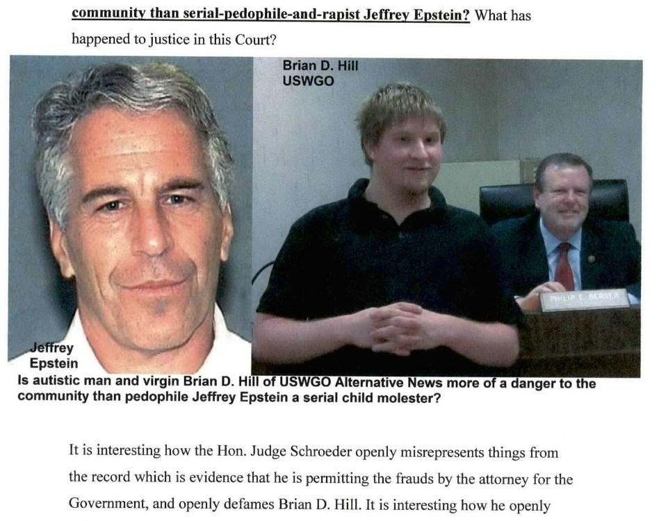 Brian d hill uswgo alternative news thomas schroeder corrupt us judge jeffrey epstein comparison