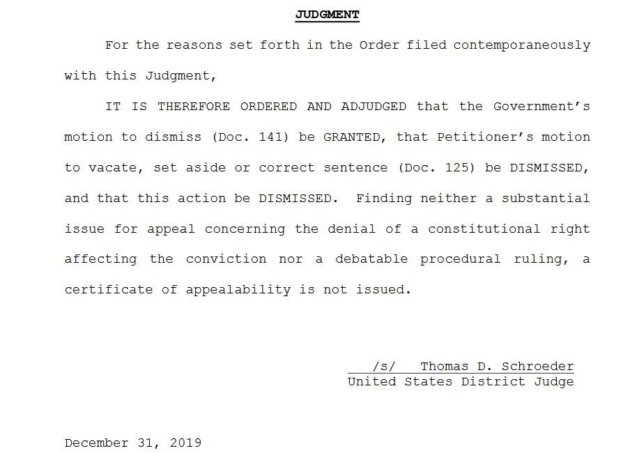 corrupt us district court judge thomas schroeder 2255 judgment