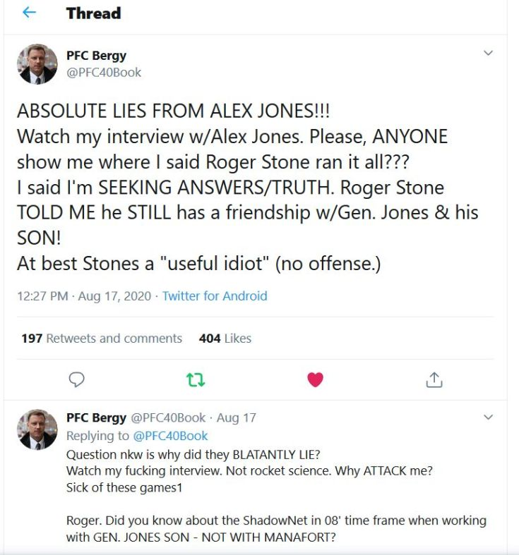 pfc-bergy-patrick-military-veteran-shadowgate-twitter-tweet-Alex-Jones-lied-liar-Roger-Stone-General-Jones3