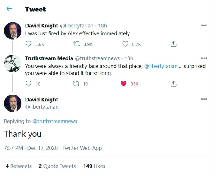 David Knight Infowars David Knight Show fired cancelled Alex Jones